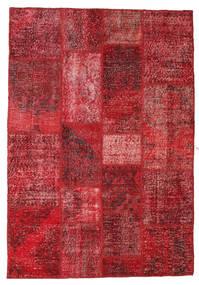 Patchwork Rug 138X201 Authentic  Modern Handknotted Dark Red/Crimson Red (Wool, Turkey)