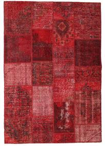 Patchwork Matto 138X201 Moderni Käsinsolmittu Tummanpunainen/Punainen (Villa, Turkki)
