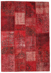 Patchwork Teppich  140X201 Echter Moderner Handgeknüpfter Dunkelrot/Rot (Wolle, Türkei)