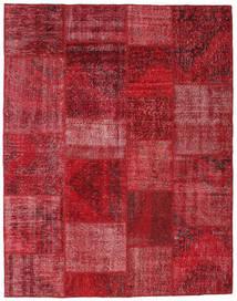 Patchwork Rug 6′6″x8′3″ Authentic  Modern Handknotted Dark Red/Crimson Red (Wool, Turkey)