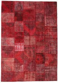 Patchwork Matta 247X352 Äkta Modern Handknuten Mörkröd/Röd (Ull, Turkiet)