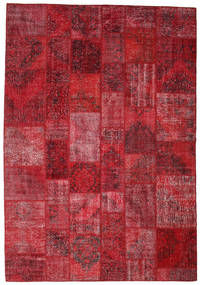Patchwork Rug 244X355 Authentic  Modern Handknotted Dark Red/Crimson Red (Wool, Turkey)
