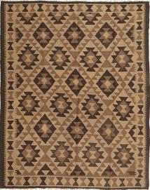 Kelim Maimane Teppich  156X198 Echter Orientalischer Handgewebter Braun/Hellbraun/Dunkelbraun (Wolle, Afghanistan)