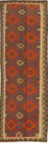 Kilim Maimane Rug 84X289 Authentic  Oriental Handwoven Hallway Runner  Dark Brown/Rust Red (Wool, Afghanistan)