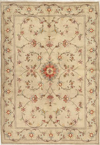 Yazd Rug 167X244 Authentic  Oriental Handknotted Dark Beige/Light Brown (Wool, Persia/Iran)