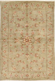 Yazd Rug 168X241 Authentic  Oriental Handknotted Light Green/Light Brown (Wool, Persia/Iran)
