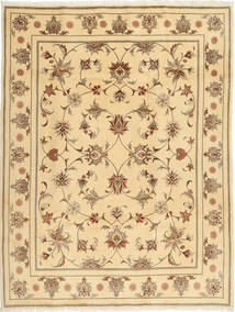 Yazd Rug 202X257 Authentic  Oriental Handknotted Dark Beige/Light Brown (Wool, Persia/Iran)