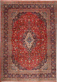 Keshan Teppe 355X480 Ekte Orientalsk Håndknyttet Brun/Mørk Blå Stort (Ull, Persia/Iran)