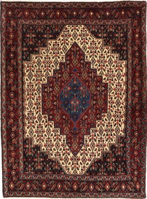 Senneh Rug 123X165 Authentic  Oriental Handknotted Dark Red/Dark Brown (Wool, Persia/Iran)