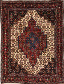 Senneh Matta 125X160 Äkta Orientalisk Handknuten Mörkröd/Mörkbrun (Ull, Persien/Iran)