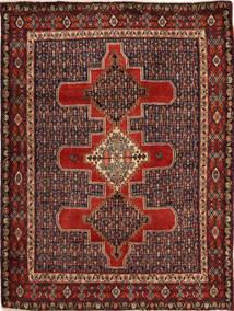 Senneh Matto 124X160 Itämainen Käsinsolmittu Tummanpunainen/Tummanruskea (Villa, Persia/Iran)