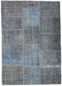 Patchwork Rug 141X200 Authentic  Modern Handknotted Dark Grey/Light Blue (Wool, Turkey)