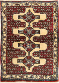 Senneh Tapete 105X144 Oriental Feito A Mão Castanho Claro/Castanho (Lã, Pérsia/Irão)