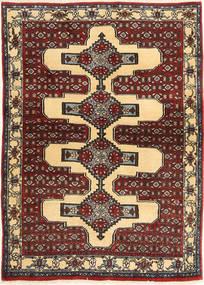 Senneh Vloerkleed 105X144 Echt Oosters Handgeknoopt Lichtbruin/Bruin (Wol, Perzië/Iran)
