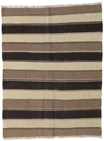 Kelim Teppich  130X168 Echter Orientalischer Handgewebter Hellbraun/Braun/Schwartz (Wolle, Persien/Iran)