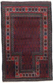 バルーチ 絨毯 86X134 オリエンタル 手織り 黒/深紅色の (ウール, アフガニスタン)