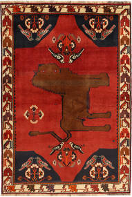 Qashqai Rug 134X202 Authentic  Oriental Handknotted Rust Red/Black (Wool, Persia/Iran)