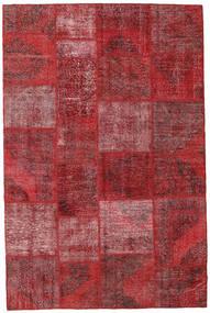 Patchwork Matto 196X297 Moderni Käsinsolmittu Tummanpunainen/Punainen (Villa, Turkki)