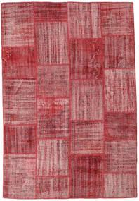 Patchwork Matto 200X292 Moderni Käsinsolmittu Violetti/Tummanpunainen (Villa, Turkki)