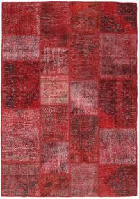 Patchwork Alfombra 140X201 Moderna Hecha A Mano Rojo Oscuro/Roja (Lana, Turquía)