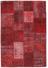 Patchwork Matto 137X200 Moderni Käsinsolmittu Tummanpunainen/Punainen (Villa, Turkki)