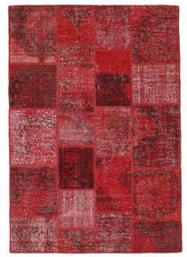 Patchwork Matto 140X201 Moderni Käsinsolmittu Tummanpunainen/Punainen (Villa, Turkki)