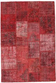 Patchwork Matto 146X202 Moderni Käsinsolmittu Tummanpunainen/Punainen (Villa, Turkki)