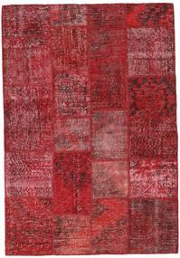 Patchwork Teppich  138X202 Echter Moderner Handgeknüpfter Dunkelrot/Rot (Wolle, Türkei)