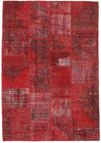 Patchwork Matto 140X200 Moderni Käsinsolmittu Tummanpunainen/Punainen (Villa, Turkki)