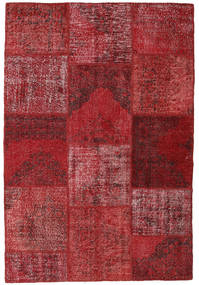 Patchwork Matto 156X230 Moderni Käsinsolmittu Tummanpunainen/Punainen (Villa, Turkki)