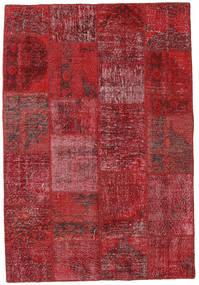 Patchwork Matto 155X230 Moderni Käsinsolmittu Tummanpunainen/Punainen (Villa, Turkki)