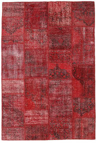 Patchwork Matta 156X230 Äkta Modern Handknuten Mörkröd/Röd (Ull, Turkiet)