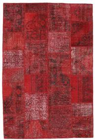 Patchwork Matto 155X232 Moderni Käsinsolmittu Tummanpunainen/Punainen (Villa, Turkki)
