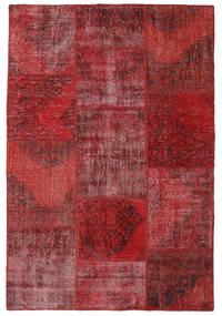 Patchwork Matto 156X231 Moderni Käsinsolmittu Tummanpunainen/Ruskea (Villa, Turkki)