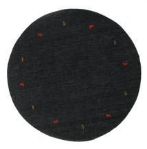 Gabbeh Loom Two Lines - Negru/Gri Covor Ø 200 Modern Rotund Negru (Lână, India)