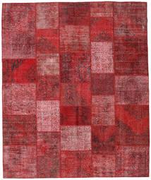 Patchwork Matto 248X298 Moderni Käsinsolmittu Tummanpunainen/Punainen (Villa, Turkki)