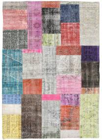 Patchwork Tapis 141X200 Moderne Fait Main Gris Clair/Rose Clair (Laine, Turquie)