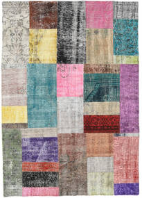 Patchwork Rug 141X201 Authentic  Modern Handknotted Light Purple/Light Grey (Wool, Turkey)