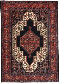 Senneh Matta 115X163 Äkta Orientalisk Handknuten Mörkröd/Svart (Ull, Persien/Iran)