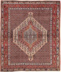 Senneh Matto 125X149 Itämainen Käsinsolmittu Tummanpunainen/Vaaleanruskea (Villa, Persia/Iran)
