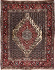 Senneh Matto 128X158 Itämainen Käsinsolmittu Tummanpunainen/Ruskea (Villa, Persia/Iran)
