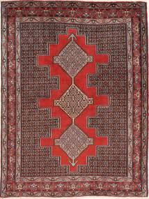 Senneh Tæppe 127X171 Ægte Orientalsk Håndknyttet Mørkerød/Lysebrun (Uld, Persien/Iran)