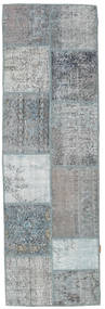 Patchwork Rug 79X252 Authentic  Modern Handknotted Hallway Runner  Light Grey/Light Blue (Wool, Turkey)