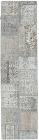 Patchwork Rug 79X301 Authentic  Modern Handknotted Hallway Runner  Light Grey/Dark Grey (Wool, Turkey)