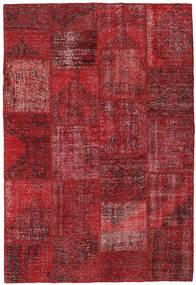 Patchwork Matto 157X231 Moderni Käsinsolmittu Tummanpunainen/Punainen (Villa, Turkki)