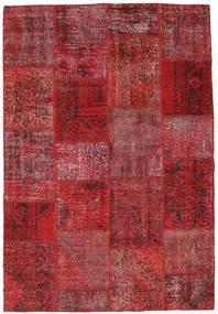 Patchwork Matto 158X230 Moderni Käsinsolmittu Tummanpunainen/Punainen/Ruskea (Villa, Turkki)