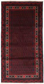 バルーチ 絨毯 105X200 オリエンタル 手織り 黒/深紅色の (ウール, アフガニスタン)