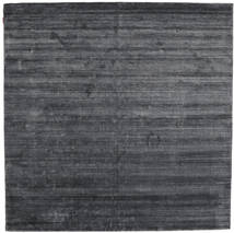 Bamboo Mătase Loom - Charcoal Covor 250X250 Modern Pătrat Gri Închis/Albastru Închis Mare ( India)