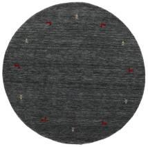 Gabbeh Loom Two Lines - Medium Grå Matta Ø 150 Modern Rund Mörkgrå/Blå (Ull, Indien)