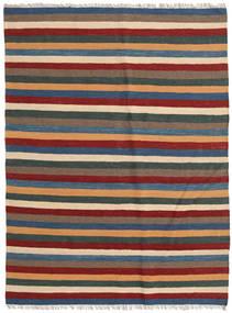 Kelim Teppich 122X165 Echter Orientalischer Handgewebter Dunkelrot/Dunkelgrau (Wolle, Persien/Iran)